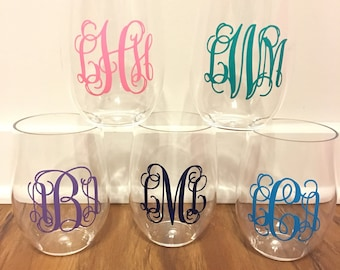 Monogrammed Plastic Stemless Wine Glass Personalized Initials Outdoor Tumbler Cup