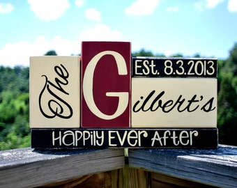 Personalizable Last Name/Wedding Date wooden block Stack with Family Names