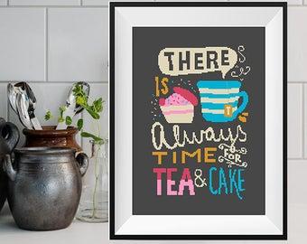 Tea Cross Stitch Pattern Kitchen decor Modern cross stitch Quote Geeky Cross Stitch Mug cross stitch Cake Tea lovers Counted cross stitch