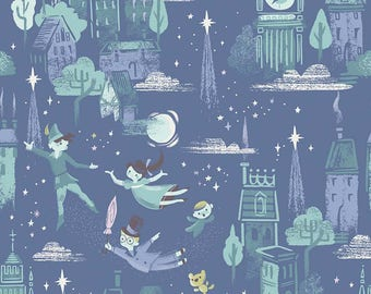 SALE Neverland Main Blue - Riley Blake Designs - Peter Pan Tinkerbell - Quilting Cotton Fabric - choose your cut