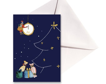 Christmas card folded watch, white envelope.