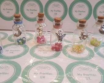 Baby gift wish bottle with charm christening