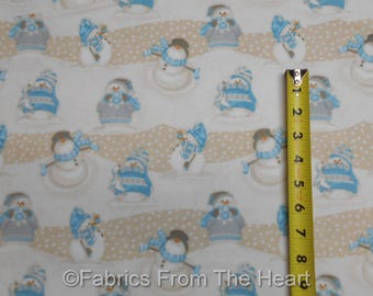 I Still Love Snow Snowmen Waves Blue BY YARDS Henry Glass Cotton FLANNEL Fabric