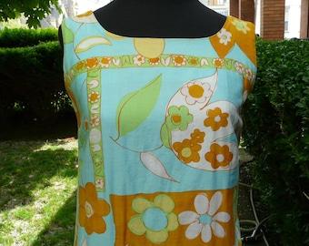 Take 15% off // RARE Vintage 1960s cotton tiki barbeque hawaiian party maxi dress