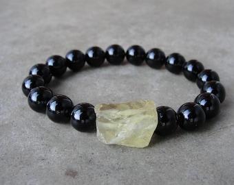 Grobstrick Zitrone rohen schwarzen Onyx Armband. Herrenschmuck. Perlen Armband. Einfache minimalistisch. Geschenk für ihn. SydneyAustinDesigns.