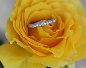 Diamond Vintage Inspired Wedding Band 14k White Gold - Diamond Wedding Bands for Her - Stacking Rings - Wedding Rings - Halo - Solitaire -