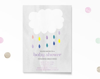 Baby Shower Invitation, Cloud Baby Shower Invitation, Printable, Cloud, Rain Baby Shower, Gender Neutral