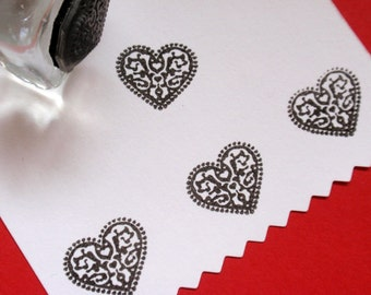 Little Dutch Heart Rubber Stamp  - Handmade by BlossomStamps