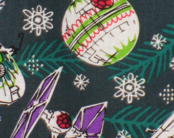 Star Wars Fabric, Christmas Star Wars, Star Wars Ships, Millennium Falcon, Tie Fighters, X-Wing, Death Star, By the Yard, Cotton Fabric
