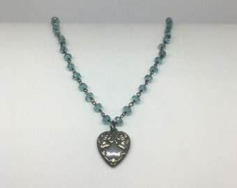 Apatite Bead Necklace with Sterling Silver Heart