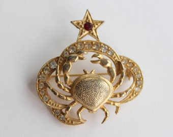 Vintage St. Labre Cancer Crab Zodiac Gold Brooch With Ruby Red And Clear Rhinestones