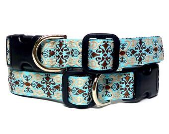 Tag collar, buckle collar, dog collar, house collar, turquoise dog collar, CAMELOT collar, renaissance collar, medieval collar, adjustable