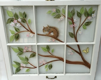 Old Windows/ Painted Windows/ Vintage Windows/ Squirrel/ Window Art/ Nature Scene/ Squirrel on Branch/Dogwood Tree