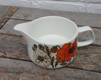 Vintage J and G Meakin Eve Midwinter Design 'Poppy' Gravy Boat 1960's / 1970's