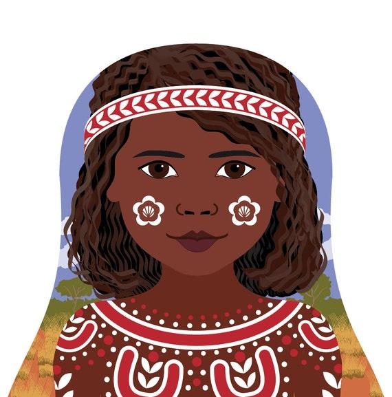 Aboriginal Australian Doll Art Print traditional dress matryoshka