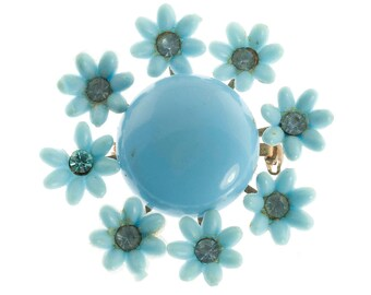 Blue Plastic Flower Brooch
