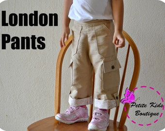 London Pants for Boys and Girls 12M-8Y PDF Pattern & Instructions-Cargo style-Rolled up hem-Flat front with elastic waistline-big pockets