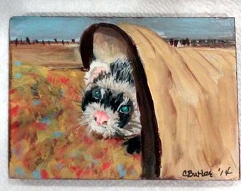 ACEO, Ferret in tunnel , small portrait of pet,  aceo magnet , aceo on easel,art trading card,collectible art,small art,ferret