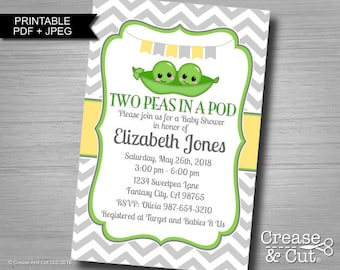 Printable Two Peas In a Pod Baby Shower Invitation for Twin Girls Or Twin Boys Gender Neutral Digital Personalized Invitation JPEG and PDF