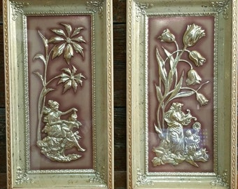 Mid Century Modern Metalcraft Framed Pictures, 3D Raised Relief Pictures, Metalcraft Jade Four Seasons Winter and Spring, 1950s Wall Decor