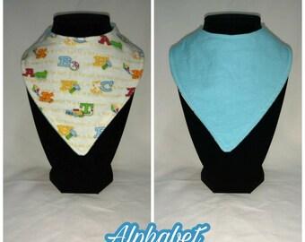 FREE SHIPPING - Reversible bandana bib - alphabet