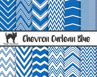 Blue Chevron Printable 12x12 Digital Scrapbooking Paper