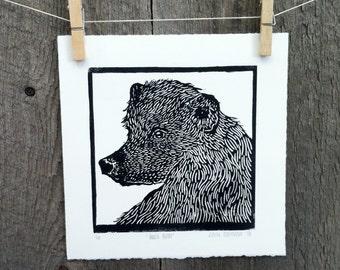 Animal Black Bear Linocut Print