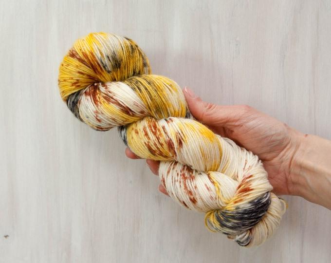 Hand dyed yarn, merino yarn, nylon yarn, sock yarn, hand dyed sock yarn, speckled yarn, yellow yarn, brown yarn, grey yarn, fingering yarn