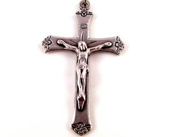 Floral Tipped Italian Rosary Crucifix | Italian Rosary Parts Rosary Medals