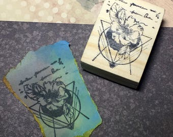 Flora II - F8 Wood Mounted Rubber Stamp
