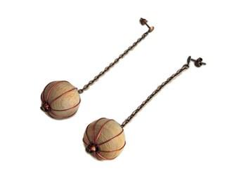 Long Wood Earrings - stud earrings - drop & dangle - copper earrings - minimalist jewelry