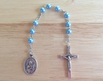 St. Lucy Handmade Catholic Chaplet with Blue Glass Pearl Beads