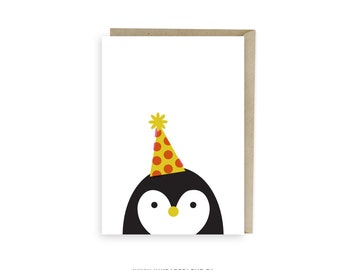 PENGUIN Birthday Card, or Thank You Card, blank inside, perfect for a happy birthday greeting card or a thank you card.
