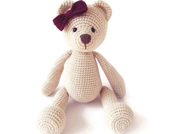 Crochet Stuffed Animal - Crochet Teddy Bear - Newborn Teddy Bear - Stuffed Animal - Baby Shower Gift - Baby Keepsake - Newborn Girl