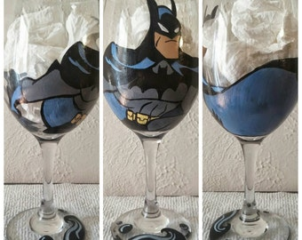 Batman Inspired Hand Painted Wine Glass