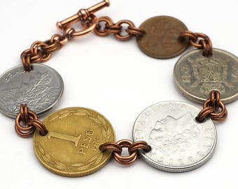Coin bracelet, mixed metals assorted world currency, 7 3/4 inches long