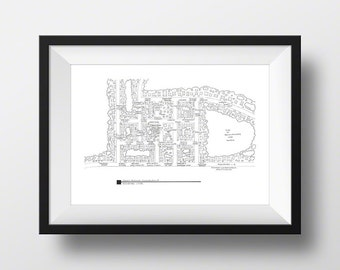 Stars Hollow - Gilmore Girls - Fictional Map Poster - Blackline Print - Lorelai Gilmore, Rory Gilmore - Gilmore Girls Gift!