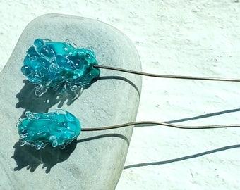 Large feathery celadon - Lampwork Glass