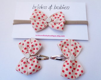Red Spotted Bow Baby Headband and Hair Clip Set