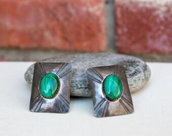Native American Sterling Silver Malachite Concho clip earrings
