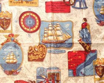 Vintage Nautical Decor Standard Zipper Pillow Sham, Corded Edge, Like New