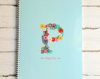 Floral Monogram Personalized Notebook - Custom Spiral Notebook with Name - Softcover Note Book - Personalized Gift for Girls, Teens