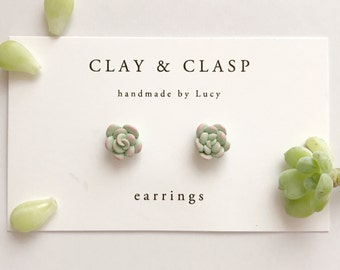 Succulent Earrings - beautiful handmade polymer clay jewellery by Clay & Clasp