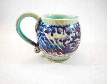 Handmade Textured Blue and Purple Ceramic Coffee Cup