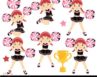 Cheerer Red Haired Girl Clip Art  Set