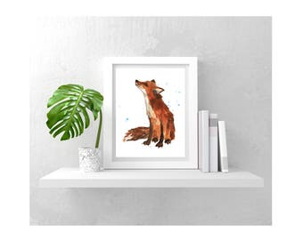 Watercolor Foxprint, HAITIAN HELPERS FUND, 8x10 print, fox lover gift