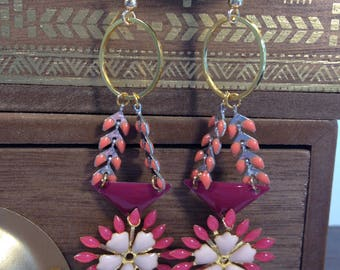 Earrings baroque gold and neon