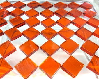 ORANGE WATERGLASS Stained Glass Mosaic Tile Transparent A15