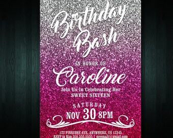 16th Birthday Invitation   Adult Birthday Invite   Digital File   Any Age Invitation