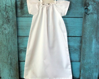 baby baptism DRESS pure white or ivory cotton, SIMPLE SHILOH custom newborn to 6